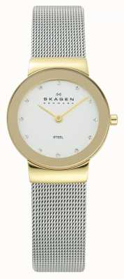 Skagen Womens Gold Tone Case Silver Mesh Bracelet Watch 358SGSCD