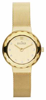 Skagen Womens Gold Tone Steel Mesh Bracelet Watch 456SGSG