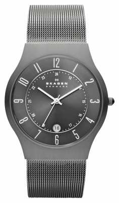 Skagen Mens Grey Titanium Case Mesh Strap Watch 233XLTTM