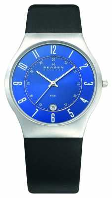 Skagen Mens Blue Dial Black Leather Watch 233XXLSLN
