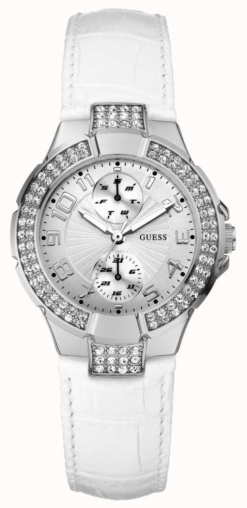 Guess Womens White Leather Strap Watch W11607L1 - First ...