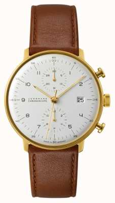 Junghans Max Bill Chronoscope Brown Leather Strap 027/7800.04