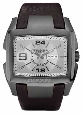 Diesel Mens Silver Rectangular Dial Leather Strap DZ1216
