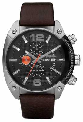Diesel Men's Chronograph Black Round Dial Brown Leather Strap DZ4204