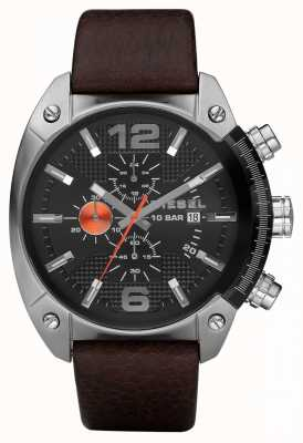Diesel Mens Chronograph Black Round Dial Brown Leather Strap DZ4204