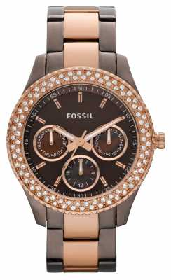 Fossil Womens Two Tone Aluminium Bracelet Watch ES2955