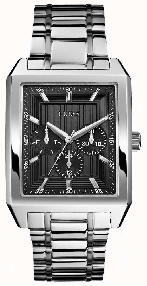 Guess Mens Square Faced Silver Tone Bracelet Watch W0077G1 ...