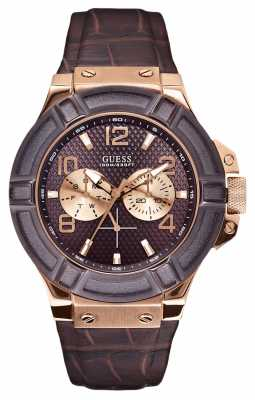 Guess Mens Rose Gold Leather Strap Watch W0040G3