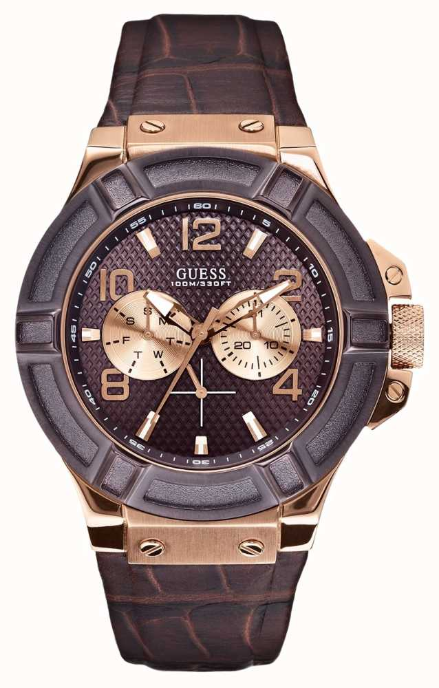 Guess Mens Rose Gold Leather Strap Watch W0040G3 - First ...