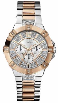Guess Womens Two Tone Steel Bracelet Watch W0024L1
