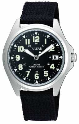 Pulsar Men's Black Canvas Strap Watch PS9045X1