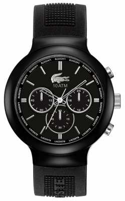 Lacoste Gent's Borneo Black Rubber Strap Chronograph Watch 2010651