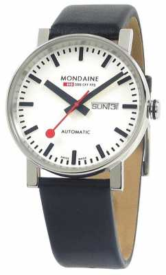 Mondaine Mens Evo Automatic Black Leather Strap White Dial Day-Date A132.30348.11SBB