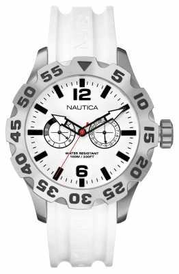 Nautica Men's BFD Stainless Steel White Dial & Rubber Strap A16603G