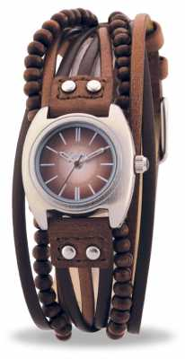 Kahuna Womens' Multi Band Leather Strap Brown KLS-0083L