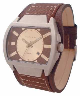 Kahuna Mens Retro Brown Leather Cuff Cream Dial KUC-0003G