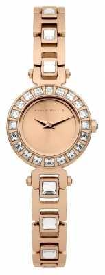 Karen Millen Womens' Rose Gold Crystal Set Round Dial Thin Bracelet Strap KM116RGM