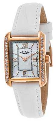 Rotary Womens White Leather Strap Rose Gold Watch LS02652/41
