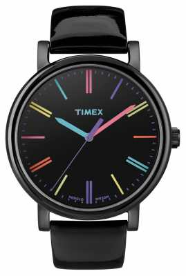 Timex Unisex Easy Reader Black Leather Strap Watch T2N790