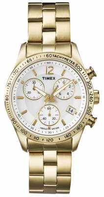 Timex Womens' Chronograph Gold Tone Stainless Steel Bracelet Watch T2P058