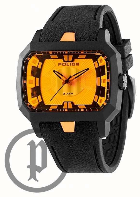police hydra rubber strap watch