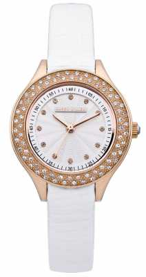 Karen Millen Womens' Rose Gold & White Crystal Set Leather Strap Watch KM108WRGX