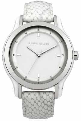 Karen Millen Womens' White Crystal Set Snake Leather Watch KM105W