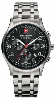 Swiss Military Hanowa Mens Black Dial Stainless Steel Patriot 6-5187.04.007