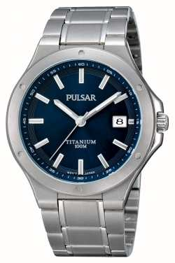 Pulsar Mens Titanium Blue Dial Date Display Watch PS9123X1