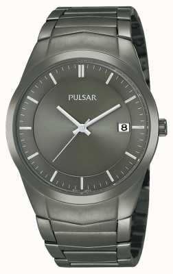 Pulsar Mens Ion-Plated Stainless Steel Black Dial Watch PS9153X1