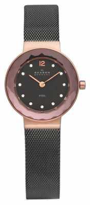 Skagen Womens' Rose-Gold Dial Brown Crystal-Set Dial Black Mesh Strap 456SRM