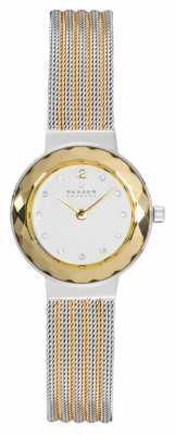 Skagen Womens' Gold-Plate & Stainless Steel Glass Bezel Mesh Strap 456SGS1