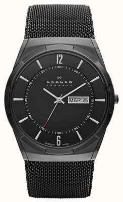 Skagen Mens Aktiv Black Ion-Plated Titanium Black Dial Watch SKW6006
