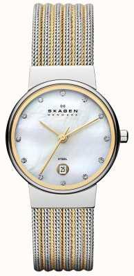 Skagen Womens' Two Tone Pearl Dial Crystal Set Bezel Watch 355SSGS