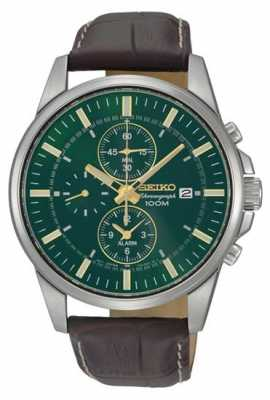 Seiko Men's Stainless Steel Green Dial Brown Leather Alarm Chrono SNAF09P1