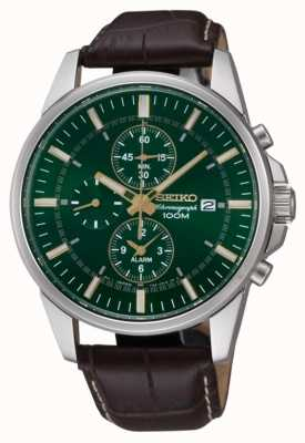 Seiko Mens Stainless Steel Green Dial Brown Leather Alarm Chrono SNAF09P1