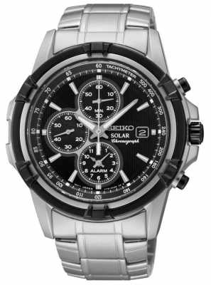 Seiko Mens Black Dial Stainless Steel Solar Power Chronograph SSC147P1