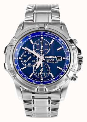 Seiko Mens Stainless Steel Blue Dial Solar Power Chronograph SSC141P1