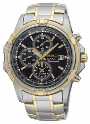 Seiko Men's Two Tone Black Dial Solar Power Chronograph SSC142P1
