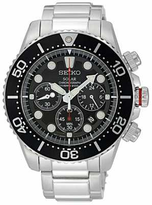 Seiko Men's Stainless Steel Black bezel & Dial Chronograph SSC015P1