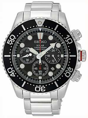 Seiko Mens Stainless Steel Black bezel & Dial Chronograph SSC015P1