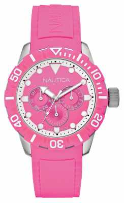 Nautica Unisex NSR 101 Pink Dial Pink Rubber Strap A13641G