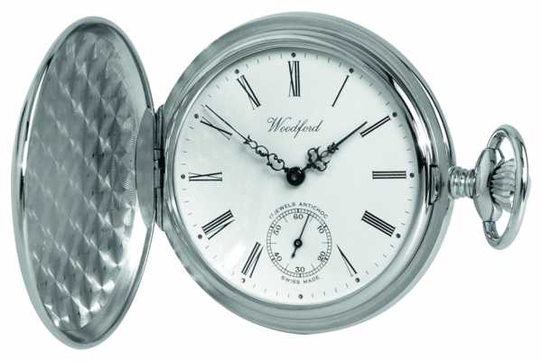 Woodford Chrome White Dial Full Hunter Mechanical Pocket Watch 1061