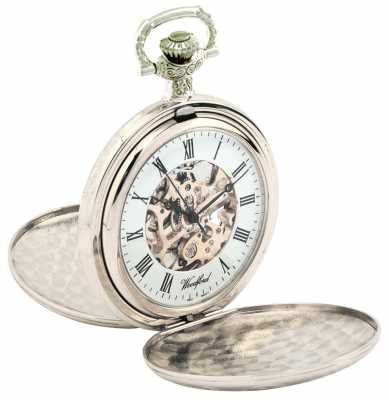Woodford Sterling Silver White Skeleton Dial Pocket Watch 1037