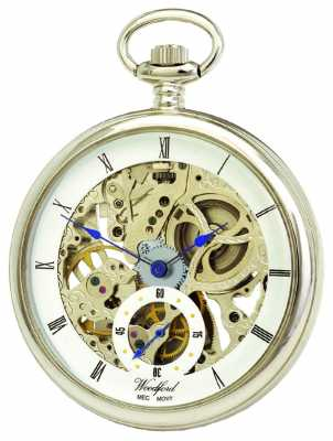 Woodford Chrome White Skeleton Dial Mechanical Pocket Watch 1043