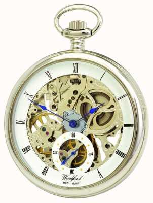 Woodford Chrome White Skeleton Dial Mechanical Pocket Watch 1043