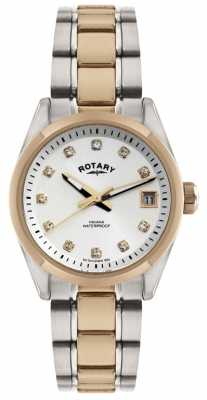Rotary Womens' Two-Tone Crystal-Set White Dial Gold Plate & Steel LB02662/02