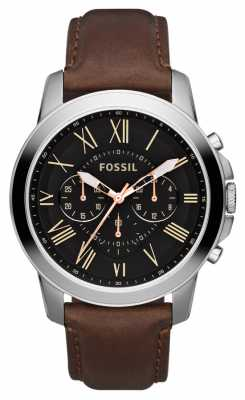 Fossil Men's Black Dial Stainless Steel Brown Leather Strap Chrono FS4813