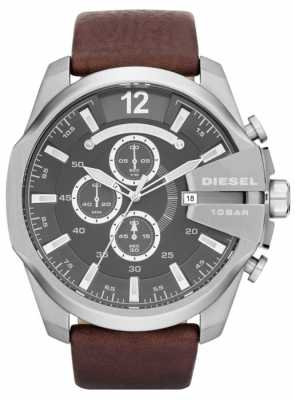 Diesel Men's Mega Chief Grey Dial Brown Leather Strap Chronograph DZ4290