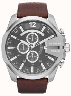 Diesel Mens Mega Chief Grey Dial Brown Leather Strap Chronograph DZ4290